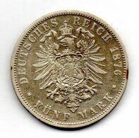 GERMAN STATES - PRUSSIA, 5 Mark, Silver, Year 1876-C, KM #503 - [ 1] …-1871 : German States