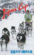 RARE Télécarte JAPON  / 110-011 - ANIMAL - CHIEN HUSKY Traîneau Course CUP - Musher & DOG Sleddog JAPAN Phonecard - 1475 - Japon