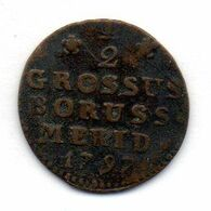 GERMAN STATES - SOUTH PRUSSIA (POLAND), 1/2 Grossus, Copper, Year 1797-B, KM #C2.1 - [ 1] …-1871 : German States