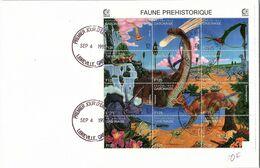 REPUBLIQUE GABONAISE - LETTRE BLOC FAUNE PREHISTORIQUE F125 - CACHET 1er JOUR 4.9.1995 LIBREVILLE / TBS - Sellos