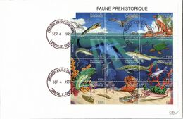 REPUBLIQUE GABONAISE - LETTRE BLOC FAUNE PREHISTORIQUE F225 - CACHET 1er JOUR 4.9.1995 LIBREVILLE / TBS - Sellos