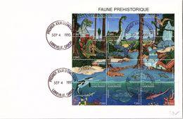 REPUBLIQUE GABONAISE - LETTRE BLOC FAUNE PREHISTORIQUE F260 - CACHET 1er JOUR 4.9.1995 LIBREVILLE / TBS - Sellos