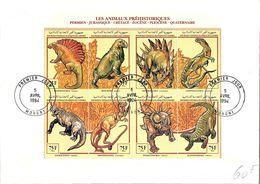 COMORES - LETTRE BLOC LES ANIMAUX PREHISTORIQUES - CACHET 1er JOUR 5 AVRIL 1994 MORONI  / TBS - Sellos