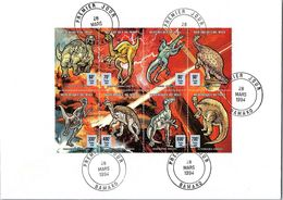 REPUBLIQUE DU MALI  - LETTRE BLOC  DINOSAURES  - CACHET 1er JOUR 28 MARS 1994 BAMAKO  / TBS - Sellos