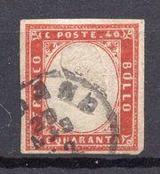 1855. ITALY, SARDINIA, 40 CENTS POSTAL STAMP - Sardinia