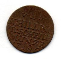 GERMAN STATES - EAST PRUSSIA (POLAND), 1 Schilling, Copper, Year 1795, KM #C50 - [ 1] …-1871 : German States
