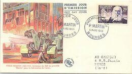 FRANCE - FDC - PIERRE MARTIN INVENTEUR  - 1er JOUR 5.3.1955 BOURGES   / 2 - FDC