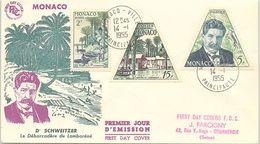 MONACO - FDC Dr SCHWEITZER  LE DEBARCADERE LAMBARENE - 14.1.1955   / 2 - FDC
