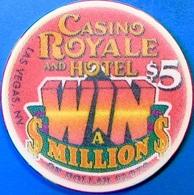 $5 Casino Chip. Casino Royale, Las Vegas, NV. Win A Million. O58. - Casino