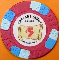 $5 Casino Chip. Caesars, Lake Tahoe, NV. O60. - Casino