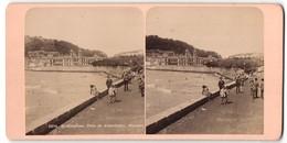 Stereo-Foto Fotograf Unbekannt, Ansicht San Sebastian, Promenade & Quaimauer - Photos Stéréoscopiques