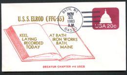 U.S.S. ELROD FFG-55 USA PSE Cover U601 Bath ME 1983 - Maritime