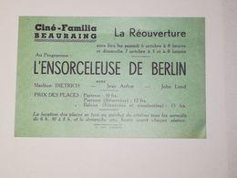 Beauraing / Ciné-Familia : Réouverture. Au Programme, L'Ensorceleuse Avec Marlene Dietrich - Programma's