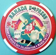 $5 Casino Chip. Ramada Express, Laughlin, NV. St Patrick's Day 2001, Only 2500 Made. O61. - Casino