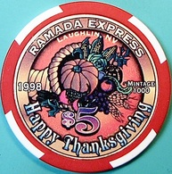 $5 Casino Chip. Ramada Express, Laughlin, NV. Thanksgiving 1998, Only 1000 Made. O61. - Casino