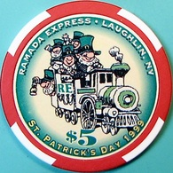 $5 Casino Chip. Ramada Express, Laughlin, NV. St Patrick's Day 1999, Only 2500 Made. O61. - Casino