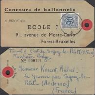 Belgique 1951-Etiquette De Forest-Bruxelles à Signy-Le-Petit-France. COB Nº 858. Concours Ballonnets....  (VG) DC-7941 - 1948 Export