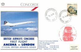 (I 25) British Airways Concorde - Ancona To London Flight (Italian Stamp) 1986 - Concorde