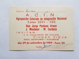URUGUAY INVITACIÓN PARTIDO POLITICO, PARTIDO COLORADO, 1989, POLITICAL PARTY INVITATION - Oude Documenten