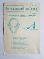 URUGUAY 1982 PARTIDO NACIONAL, MOVIMIENTO OBRERO GRANJERO, PAPELETA VOTO, BULLETIN DE VOTE - Oude Documenten