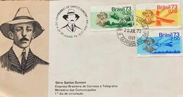 A) 1973, BRAZIL, SANTOS DUMONT SERIES, BRAZILIAN POST AND TELEGRAPH COMPANY, MINISTRY OF TELECOMMUNICATIONS 1 DAY OF CIR - Brazil