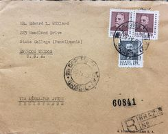A) 1968, BRAZIL, MANUEL FERRAZ, SENT TO STATE COLLEGE PENNSYLVANIA UNITED STATES, AIR MAIL, REGISTERED, 3 VALUE - Brazil