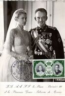 """MONACO 1956 Carte Maximum """" MARIAGE ROYAL / PRINCESSE GRACE / RAINIER III """". N° YT 473. Parfait état. CM - Cartoline Maximum"""