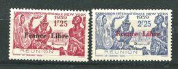 Reunion * N° 216/217 - Expo. De Newyork - Surchargé FRANCE LIBRE - Réunion (1852-1975)