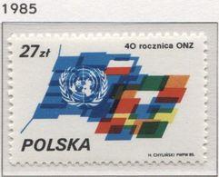 Poland 1985 Mi 3006 40th UN Anniversary, United Nations MHN** - 1944-.... République