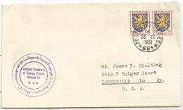 BLASON 3FR PAIRE LETTRE POSTE AUX ARMEES 23.10.1951 *601* + COMMISSARIAT REPUBLIQUE FRANCAISE EN AUTRICHE POUR USA - 1941-66 Escudos Y Blasones