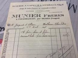 ♥️ FOUCHECOURT. ISCHES Scierie à Vapeur  MUNIER. Facture De 1927 - France