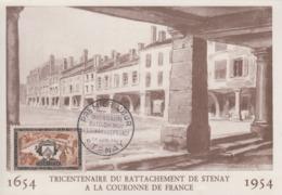 Carte  Maximum  1er  Jour   FRANCE   Rattachement  De  La  Ville  De  STENAY  à  La   FRANCE   1954 - Cartas Máxima