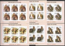 KV278 IMPERFORATE 2002 GUINEA FAUNA BIRDS OWLS CHOUETTES ET HIBOUX !!! 6SET MNH - Owls