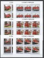 KV055 2003 S. TOME E PRINCIPE TRANSPORT FIRE TRUCKS 6SET MNH - Trucks