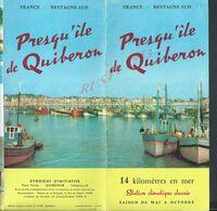 DEPLIANT PUBLICITAIRE ILLUSTRÉE PRESQU ÎLE DE QUIBERON : - Werbung