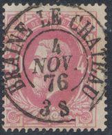 """émission 1869 - N°34 Obl Double Cercle """"Braine-le-chateau"""". Oblitération Concours ! / Collection Spécialisée. - 1869-1883 Leopoldo II"""