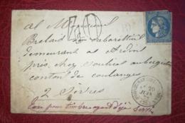 Lettre 1872 - Pour ARDIN (79160) - Boite Rural B - Taxe 40 Pour Timbre Ayant Déjà Servi - 1849-1876: Klassik
