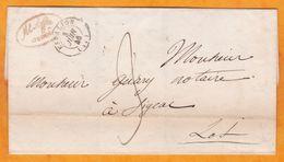 1846 - Enveloppe Pliée D' Espalion, Aveyron Vers Figeac, Lot - Via Rodez - Cachets à Date De Transit Et D'arrivée - Marcophilie (Lettres)
