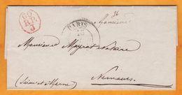 1836 - Marque Postale 60RPJ Sur Lettre Pliée Avec Corres De Paris Vers Nemours, Seine Et Marne - Cachet à Date D'arrivée - Marcophilie (Lettres)