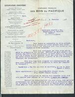LETTRE COMMERCIALE COMPAGNIE DU PACIFIQUE DES BOIS EXPLOITATIONS FORESTIÈRE PARIS 1919 PETITES DECHIRURES : - France