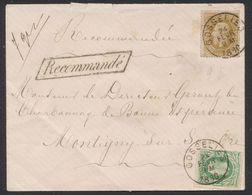 émission 1869 - N°30 Et 32 Sur Enveloppe En Recommandé (encadré, 7grammes) De Gosselies (1880) > Montigny-S-Sambre - 1869-1883 Leopold II