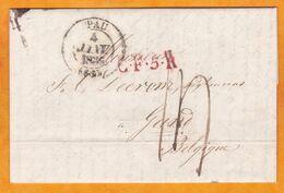 1836 - Marque Postale CF5A Sur Lettre Pliée Avec Corresp De Pau Vers Gand Gent , Belgique - Cachet à Date D'arrivée - Marcophilie (Lettres)