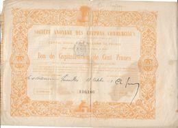 Société Anonyme Des Coupons Commerciaux, Bon De Capitalisation De Cent Francs    VERSAILLES 18 Oct 1881 - Altri