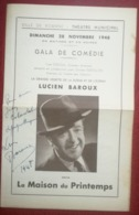 Lucien BAROUX (1888-1968) - Autographe 1948 Théâtre Municipal De Roanne - Handtekening