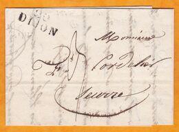 1829 - Marque Postale 20 DIJON, Côte D'Or  Sur Lettre Pliée Avec Correspondance Vers Seurre - Marcophilie (Lettres)