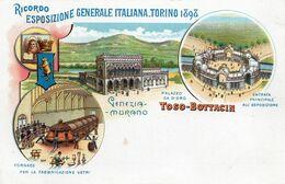 ESPOSIZIONE GENERALE ITALIANA TORINO 1898. Fratelli Toso-Bottacin. Gruss. Venezia. Murano. Pionnière. - Exhibitions