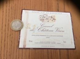 Etiquette Vin 1990 « PREMIÈRES CÔTES DE BLAYE - Carmel Du Château Virou - SAINT-GIRONS-D'AIGUEVIVES (33)» - Bordeaux