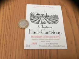 Etiquette Vin 1998 « PREMIÈRES CÔTES DE BLAYE - Château Haut-Canteloup - S. BORDENAVE - Fours (33)» - Bordeaux