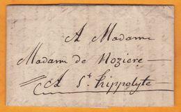 1827 -  Lettre Pliée Avec Correspondance Personnelle De 3 Pages De Saint-Jean-du-Gard Vers Saint Hippolyte, Gard - Marcophilie (Lettres)