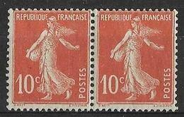 France - 1907 -  Paire Semeuse Fond Plein  10 C Rouge - Y&T N° 138 (IA)  Neuf ** (gomme D'origine) - Ongebruikt